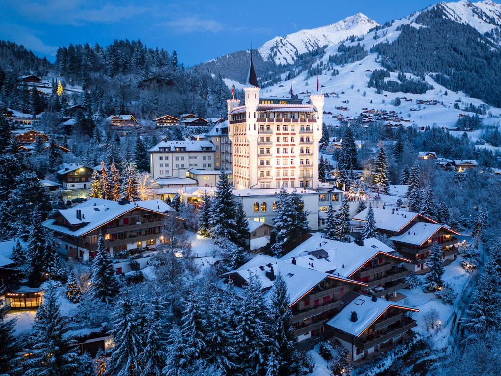 Gstaad Palace exterior view winter